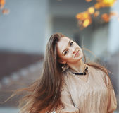 Young woman with gorgeous windy hair Stock Photo