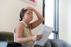 Young woman got a bad letter uvolnenii stock images