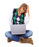 Young woman got a problem with her laptop Royalty Free Stock Images
