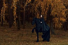 Young woman in gothic clothes is engaged in dressage in the Friesian stallion. A young woman in gothic clothes is engaged in dressage in the Friesian stallion royalty free stock image
