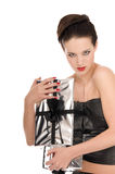 Young woman grabbing Christmas gifts Stock Image