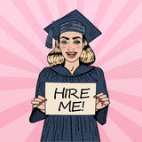 Young Woman Graduate Holding Hire Me Sign. Pop Art Stock Images