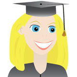 Young woman graduating. Vector illustration of a closeup of a young woman graduating, complete with hat and gown Stock Images