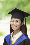 Young Woman Graduating From University, Close-Up Vertical Portrait Stock Images