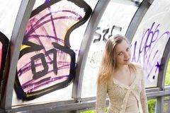 Young woman and graffiti Stock Photos