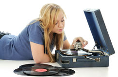 The young woman and gramophone. Stock Image
