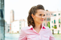 Young woman on grand canal in venice, italy Stock Images