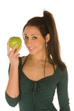 Young woman with granny smith apple Stock Photos