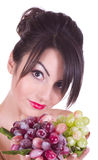 Young woman with grape Royalty Free Stock Photography
