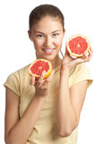 Young woman with grapefruit Stock Photos