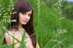 Young woman in the grass Stock Images