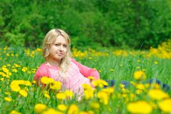 Young woman on the grass Royalty Free Stock Photography