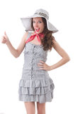 Young woman in gray striped dress Royalty Free Stock Image