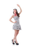 Young woman in gray striped dress isolated on Stock Image