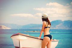 Young woman in Greece royalty free stock image