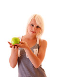 Young woman with green apple stock photos