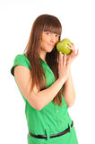 Young woman with green apple Stock Photography