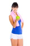 Young woman with green apple Stock Photo