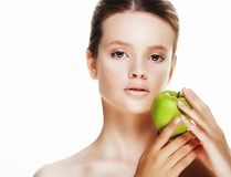 Young  woman with green apple,  on white background Stock Images