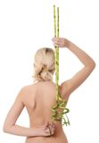 Young woman with a green bamboo Royalty Free Stock Photography