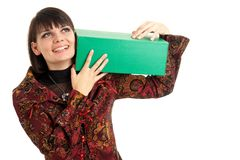 Young woman with green box Royalty Free Stock Photos