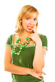 Young woman in green dress Royalty Free Stock Images