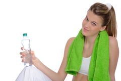 Young woman with green fitness towel Royalty Free Stock Photography