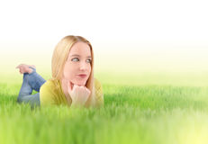Young Woman in Green Nature Grass Stock Image