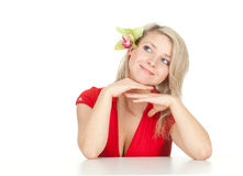 Young woman with green orchid Royalty Free Stock Images