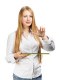 Young woman with green pad and virtual interface Royalty Free Stock Photo