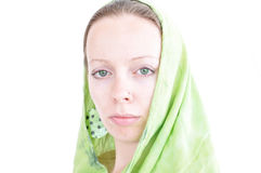Young woman with green scarf Stock Photography