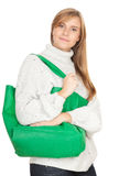 Young woman with green shopping bag Stock Photography