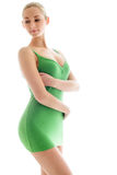 Young woman in green slip Royalty Free Stock Photography