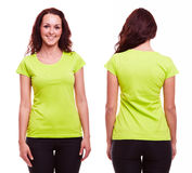 Young woman in green t-shirt Stock Image