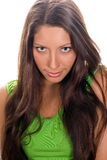 Young woman in green top Stock Photo
