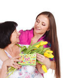 Young woman greeting her mother Royalty Free Stock Photography