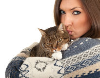 Young woman with grey  cat Stock Images