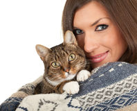 Young woman with grey cat Stock Photos
