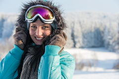 Young woman in grey fur snow winter Stock Photography