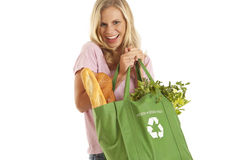 Young woman with groceries. In recycle bag Stock Photography
