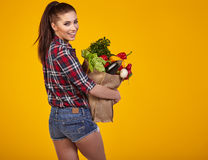 Young woman with a grocery shopping bag. Stock Image