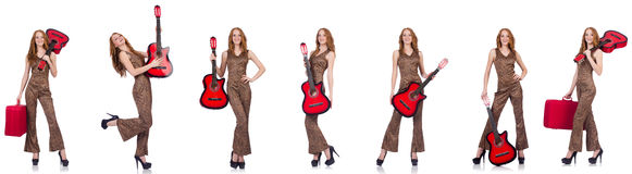 The young woman with guitar isolated on white Stock Image