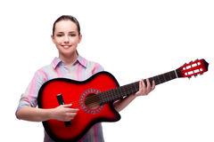 The young woman with guitar isolated on white Stock Photography