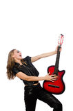 Young woman guitar player isolated on white Stock Images