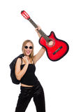 Young woman guitar player isolated on white Royalty Free Stock Photography