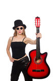 Young woman guitar player isolated on white Stock Photos