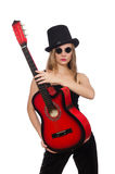The young woman guitar player isolated on white Royalty Free Stock Photos