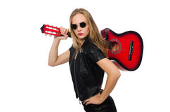 The young woman guitar player isolated on white Stock Image