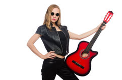 The young woman guitar player isolated on white Stock Images