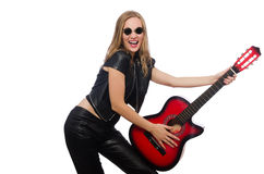 Young woman guitar player isolated on white Royalty Free Stock Photos